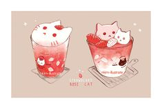 Drawing Roses nkim-doodles: Some more cat drinks! Sorry I havent posted here in a while! Cute Food Drawings, Cute Animal Drawings Kawaii, Arte Do Kawaii, Kawaii Cat, Cute Food Art, Cute Art, Chibi Food, Kawaii Illustration, Cat Drinking