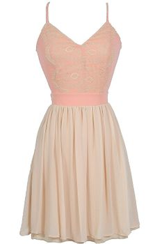 Peaches and Cream Open Back Dress in Peach/Beige  www.lilyboutique.com
