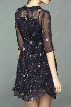 Collared Sheer Dress With Star Print - PURPLISH BLUE M