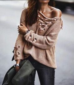 Knitted Tie-Up Pullover Sweater