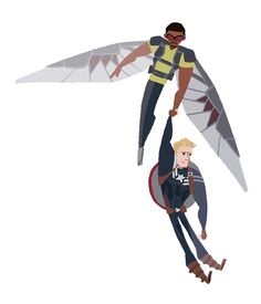 [Image: Sam Wilson flying and holding Steve Rogers up by one hand.]  hasserole:  (they're transparent)