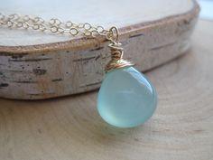 $20 Starting Bid: Smooth Seafoam Chalcedony Gemstone #Necklace in Gold