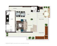 Planta Baixa Duplex pavimento inferior -   Trabalho desenvolvido para a empresa Melancia Estúdio Digital.