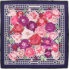 "HERMES SCARF Silk ""Roserai"" by Christiane Vauzelles 90cm Carre 100% Auth"
