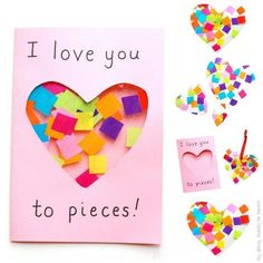 I Love you to Pieces suncatcher card to make for Valentines Day or Mothers Day. A super cute I Love you to Pieces suncatcher card to make for Valentines Day or Mothers Day. Easy Mother's Day Crafts, Mothers Day Crafts For Kids, Diy Mothers Day Gifts, Fathers Day Crafts, Crafts For Kids To Make, Mothers Day Cards, Valentine Day Crafts, Kid Crafts, Valentine Theme