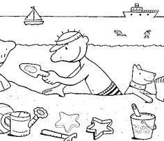 Water en zand! Summer Activities For Kids, Summer Kids, Sequencing Pictures, Grande Section, Little People, Coloring Pages, Ocean, Teaching, Children