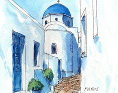 Naoussa Paros Grecia lámina de acuarela original por AndreVoyy
