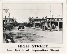 Darebin Heritage - Looking towards Separation Street intersection. Melbourne Suburbs, Broken Promises, Melbourne Victoria, Melbourne Australia, Home Look, Back In The Day, Preston, Historical Photos, Vintage Images
