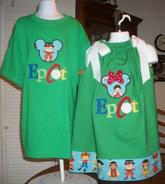 Green Epcot Brother Sister shirt and dress by StitchesNBows, $50.95