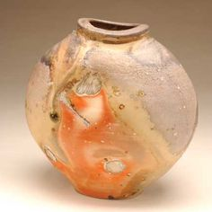 Jack Troy, ash glaze, anagama-style kiln wood-fired vessel.