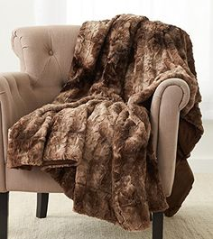 Pinzon Faux Fur Throw Blanket 63 x 87 Alpine Brown Faux Fur Blanket, Faux Fur Throw, Wool Blanket, Cotton Blankets, Soft Blankets, Brown Throws, Sofa Throw, Weighted Blanket, Bed Covers