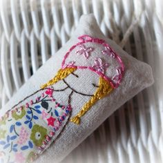 hand embroidered lavender girl by LiliPopo on Etsy Silk Ribbon Embroidery, Crewel Embroidery, Hand Embroidery Patterns, Vintage Embroidery, Cross Stitch Embroidery, Embroidery Designs, Learning To Embroider, Bordado Floral, Sewing Art