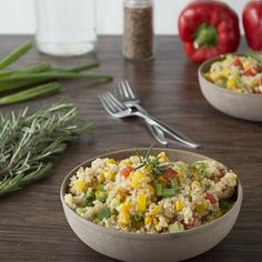 Quinoa and Bell Pepper Salad with Rosemary.  really good, one of our favorite quinoa recipes.