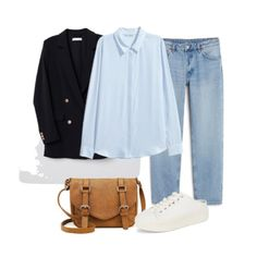 Light blue blouse+straight-leg jeans+white sneakers+navy blazer+cognac crossbody-bag. Spring Casual Outfit 2018