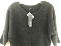 New Apt. 9 Sweater Med Black Shimmer Sequined Dolman 3/4 Sleeve Pullover Tunic #Apt9 #Crewneck #Casual