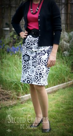 Upcycling a polo shirt into a skirt:  Second Chances by Susan: T-Shirt to Skirt Refashion