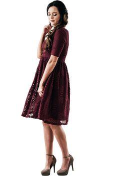 4d147b9d8e Emery Modest Holiday Dress Modest Bridesmaid Dress in Burgundy Lace