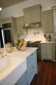 1000 images about kitchen ideas on pinterest sage green for Sage green kitchen cabinets with white appliances