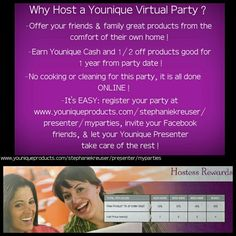 Host a Virtual Party today! www.youniqueproducts.com/stephaniekreuser/presenter/myparties #younique #makeup #makeupguru #mineralmakeup #cosmetics #beauty #glam #professional #earn #rewards #products #glam #guru #expert #natural #vegan #organic #glutenfree #sexy #posh #chic #online #shopping #party Stephanie Kreuser, Presenter.