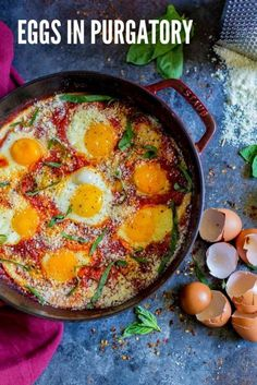 EGGS IN PURGATORY is a flavorful Italian version of traditional SHAKSHUKA. This easy breakfast recipe uses basic ingredients. It's over-the-top scrumptious! Best Egg Recipes, Mexican Food Recipes, Vegetarian Recipes, Cooking Recipes, Healthy Recipes, Keto Recipes, Eggs In Purgatory, Breakfast Desayunos, Italian Breakfast