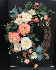 Peach and Cream Oval Wreath by Andrea