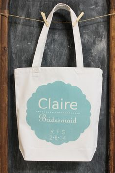 The Claire Tote bag for your bridesmaids, customize each one with your Maid of Honor, Mother of the bride & Mother of the groom......include their names and title & add your initials + wedding date for a special keepsake. MODERN VINTAGE MARKET #wedding ideas # bridesmaid totes # bridesmaid gifts