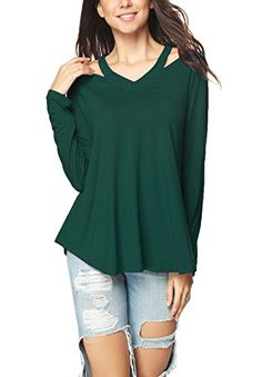 iGENJUN Womens Long Sleeve VNeck TShirt Casual Loose TopsMGreen ** Check this awesome product by going to the link at the image. (Note:Amazon affiliate link) #Tshirts