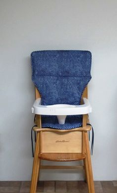 eddie bauer high chair cover, jenny lind chair pad, feeding chair, nursery chair cushion, baby care, kids furniture, navy with white dots by SewingsillySister on Etsy