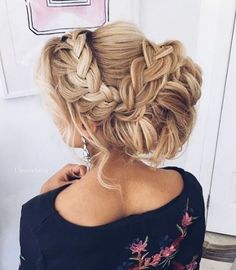 Braided messy updo  By @ulyana.aster