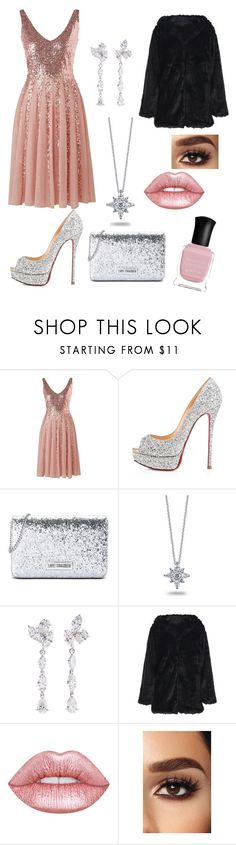 """""""~3~"""" by sallydark ❤ liked on Polyvore featuring Christian Louboutin, Love Moschino, Kwiat, Anyallerie, Lime Crime and Deborah Lippmann"""
