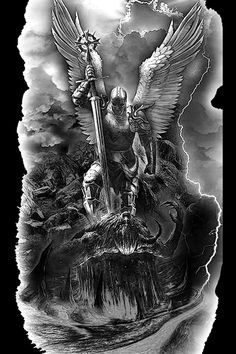 Angel Warrior Tattoo, Devil Tattoo, Warrior Tattoos, Angel Tattoo Men, Archangel Michael Tattoo, St Michael Tattoo, Angel Tattoo Designs, Tattoo Sleeve Designs, Cover Up Tattoos For Men