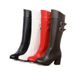 Mode Stiefel Block Absatz Reißverschluss Gr.28-52 Wadenhohe Stiefel Damenschuh