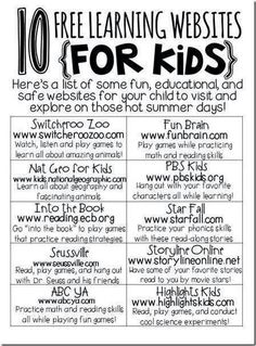 Educational websites for kids. Seems mostly primary.