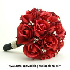 Bridesmaids Bouquets- Go with the all black dresses and red shoes.