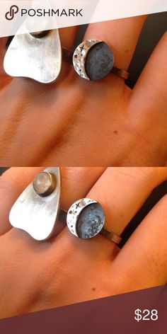 MOON ring! (One on the right) Sterling silver, handmade to order by me!  Any phase available upon request as is any size!Any questions, please comment! I can't get to my studio until Jan. 16th, 2017. Free People Jewelry Rings