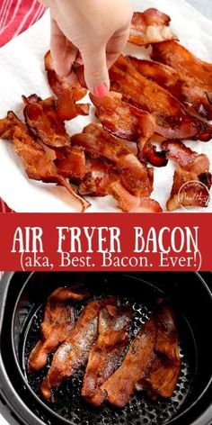 Air fryer bacon is literally the best bacon ever, and you may never make it any other way again! Crispy outside, chewy inside, absolute perfection! Air Fryer Oven Recipes, Air Frier Recipes, Air Fryer Dinner Recipes, Bacon Dinner Recipes, Burger Recipes, Bacon Recipes Healthy, Recipes Using Bacon, Air Fryer Cake Recipes, Bacon Appetizers