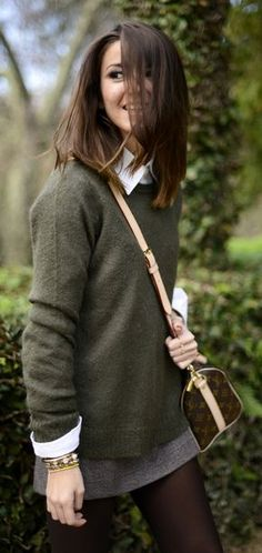 Mini skirt, sweater with collar underneath