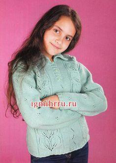 Пуловер с узором «листья» для девочки 10 лет. Вязание спицами Теплый комфортный пуловер нежного пастельного оттенка, с красивыми узорами из «листьев» и «зигзагов» несомненно понравится вашему ребенку