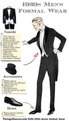 1920s mens formal wear guide- white tie for weddings and more. VintageDancer.com/1920s