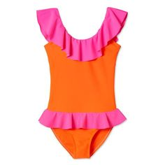Mixing tangy orange pop with neon pink makes this bright and beautiful bathing suit for girls another best seller in the Stella Cove collection of beachwear for girls. Orange Swimsuit, Pink Suit, Girls Bathing Suits, Cute Swimsuits, Beachwear, Swimwear, Kids Fashion, One Piece, Neon