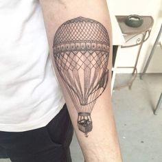 Dotwork Hot Air Balloon Tattoo by Ael Lim