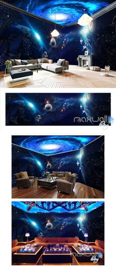 Space planet sky theme space entire room wallpaper wall mural decal IDCQW-000043 Wall Decor Design, Wall Art Designs, Room Wallpaper, Photo Wallpaper, Wall Mural Decals, Floor Decal, Space Planets, Spa Design, House Wall