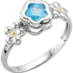 Pretty Flowers Adorn this Pretty Blue Cubic Zirconia Sterling Silver Ring