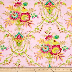 Lucky Girl Jill Pink from @fabricdotcom  Designed by Jennifer Paganelli for Free Spirit, this fabric is perfect for quilting, apparel and home décor accents.  Colors include magenta, yellow, lime, tan and teal on a pink background.
