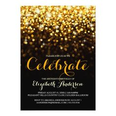 Mod wish new years eve party invitation minimal gifts style fireworks celebration for new years eve party card gold black hollywood glam sweet sixteen invitation stopboris Gallery