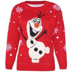 Style Fashion-womens Novelty Olaf Frozen Style Christmas Jumper at... ($15) ❤ liked on Polyvore featuring tops, sweaters, red jumper, red top, jumper top, christmas sweater and christmas tops