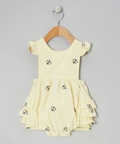 Smockadot Yellow Anchor Ruffle Bubble Sunsuit