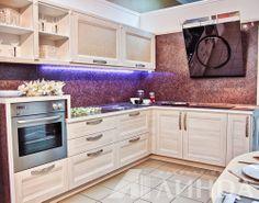 Кухня угловая модерн светлая мдф пвх