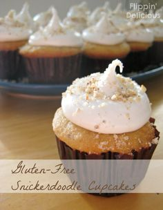 These Gluten-Free Snickerdoodle Cupcakes are reminiscent of the traditional cookie, but with a hint of nutmeg and the nuttiness and crunch of ground hazelnuts. Best Gluten Free Desserts, Gluten Free Sugar Cookies, Gluten Free Cakes, Gluten Free Baking, Just Desserts, Gluten Free Recipes, Thm Recipes, Baking Recipes, Healthy Recipes