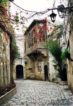 Old street in Aleppo , Syria.